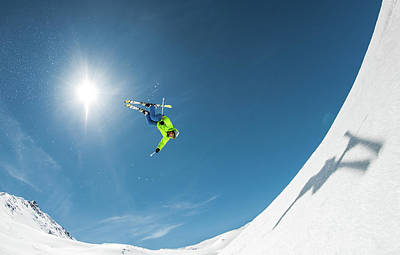 Skiing Action Photograph - Backcountry Backflip by Eric Verbiest