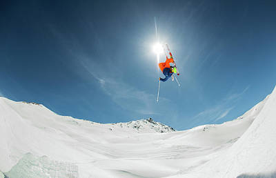 Skiing Action Photograph - Backcountry Kicker Locals Only by Eric Verbiest