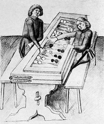Backgammon Drawing - Backgammon, 15th Century by Granger