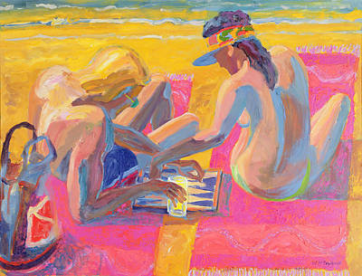 Nudist Painting - Backgammon by William Ireland