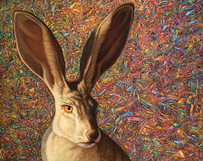 Bunny Painting - Background Noise by James W Johnson