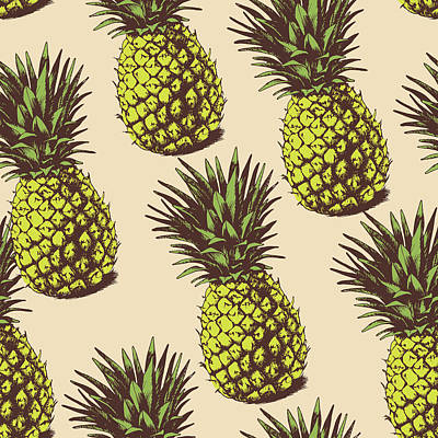Digital Art - Background With  Pineapples by Ola-ola
