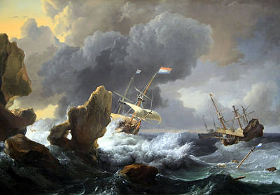 Photograph - Backhuysen's Ships In Distress Off A Rocky Coast by Cora Wandel