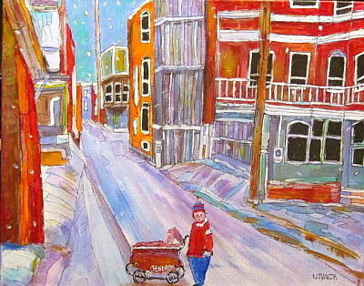 Litvack Painting - Backlane Snow by Michael Litvack