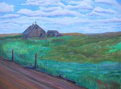 Abandoned Farm House Painting - Backroad by Mike Bolan