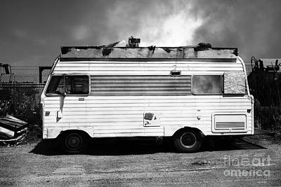 Backroads Americana Abandoned Recreational Vehicle Rv 5d22705 Black And White Print by Wingsdomain Art and Photography