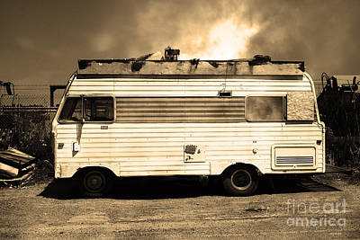 Backroads Americana Abandoned Recreational Vehicle Rv 5d22705 Sepia Print by Wingsdomain Art and Photography