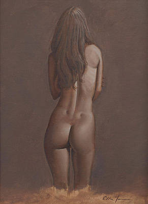 Female Form Drawing - Backside by Eddie Torres