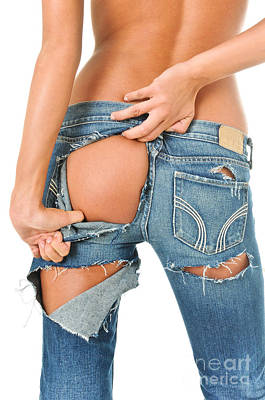 Backside Of A Sexy Girl In Torn Blue Jeans  Art Print by Jt PhotoDesign