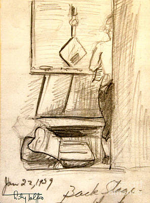 Dressing Room Drawing - Backstage-1939- Wilmington De. by Art By Tolpo Collection