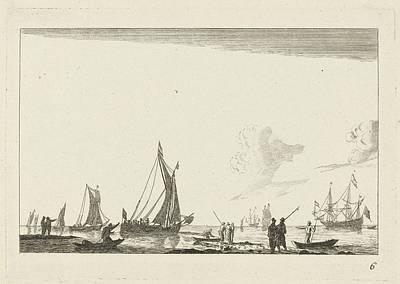 Backwater With Several Sailing Ships, Anonymous Art Print