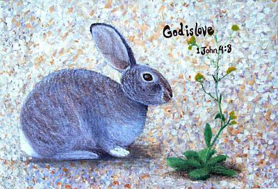Saldana Painting - Backyard Bunny by Catherine Saldana