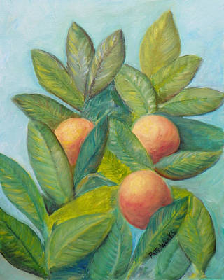 Painting - Backyard Florida Oranges by Patty Weeks