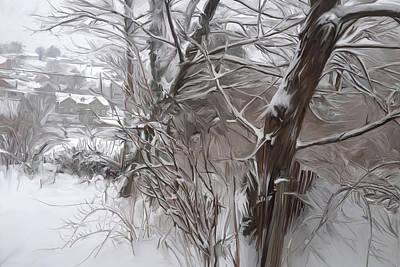 Bellefonte Wall Art - Mixed Media - Backyard In Snow by Mary Vollero