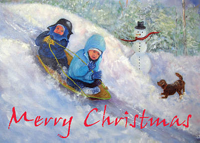 Painting - Backyard Winter Olympics Christmas Card by Loretta Luglio