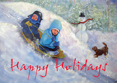 Painting - Backyard Winter Olympics Holiday Card by Loretta Luglio