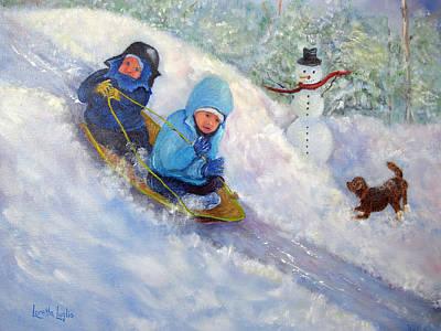 Painting - Backyard Winter Olympics by Loretta Luglio