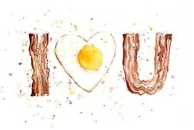 Eggs Painting - Bacon And Egg I Love You by Olga Shvartsur