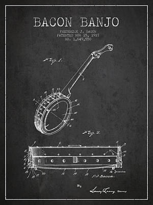 Bacon Banjo Patent Drawing From 1929 - Dark Art Print by Aged Pixel