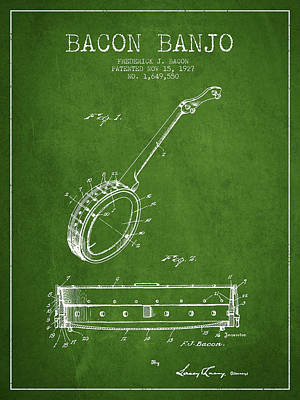 Bacon Banjo Patent Drawing From 1929 - Green Art Print by Aged Pixel