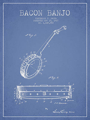 Bacon Banjo Patent Drawing From 1929 - Light Blue Art Print by Aged Pixel