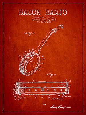 Bacon Banjo Patent Drawing From 1929 - Red Art Print by Aged Pixel