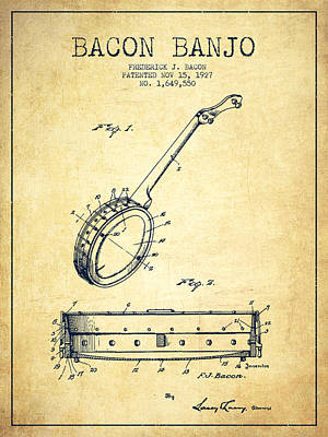 Banjo Drawing - Bacon Banjo Patent Drawing From 1929 - Vintage by Aged Pixel