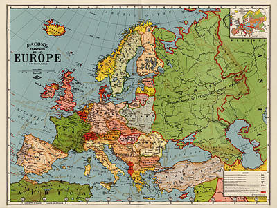 Bacon Drawing - Bacon's Standard Map Of Europe - Circa 1920 by Blue Monocle