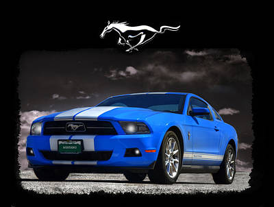Photograph - Bad Blue Mustang Version 2 by Ken Smith