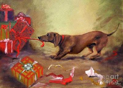 Painting - Bad Dog Christmas by Stella Violano