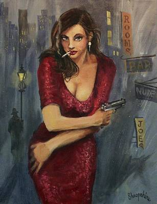 Film Noir Painting - Bad Girl by Tom Shropshire