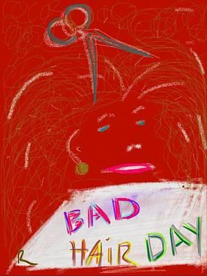 Gold Earrings Digital Art - Bad Hair Day by Richard Fruge