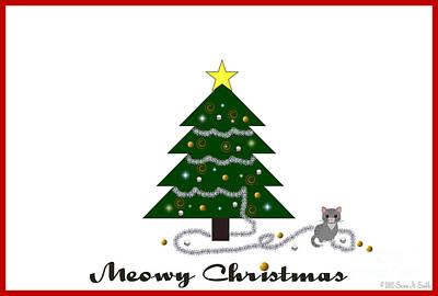 Bad Kitty Meowy Christmas Art Print