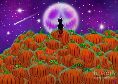 Spooky Digital Art - Bad Moon Black Cat by Nick Gustafson