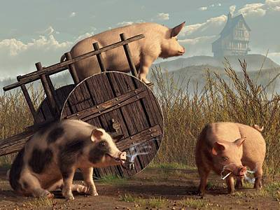 Domestic Animals Digital Art - Bad Pigs by Daniel Eskridge
