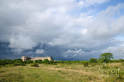 Photograph - Bad Weather Is Coming Up At  A Medieval Castle Ruin by Kennerth and Birgitta Kullman