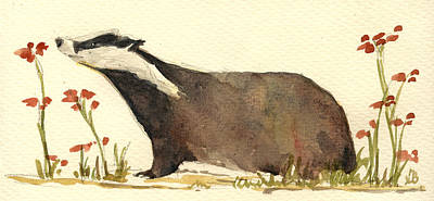 Badger And Flowers Art Print