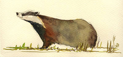 Badger Grass Art Print