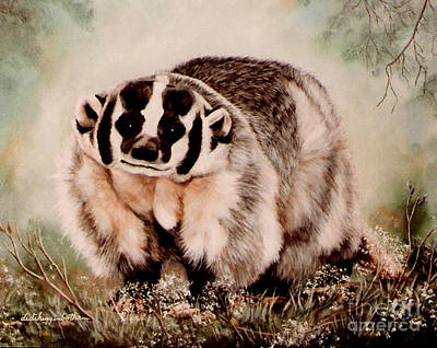 Badger In The Mist Art Print by DiDi Higginbotham