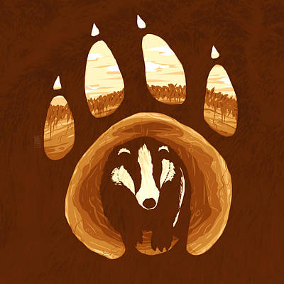 Grounds Drawing - Badger Paw by Daniel Hapi