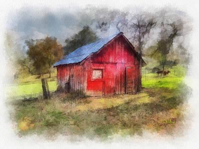 Shed Digital Art - Badger Red Shed by Rick Lloyd