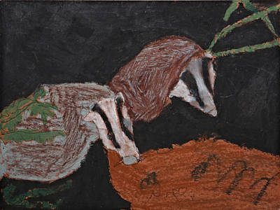Badgers Drawing - Badgers In The Night by Stephanie Ward