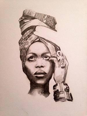 Soul Singer Drawing - Badu by Gabriella Miguel