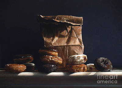 Paper Bags Painting - Bag Of Donuts by Larry Preston