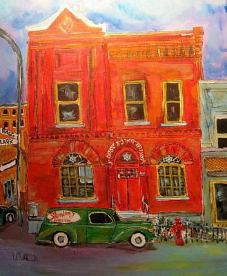 Brick Duplex Painting - Bagg Street Shul by Michael Litvack