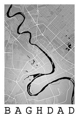 Iraq Digital Art - Baghdad Street Map - Baghdad Iraq Road Map Art On Color by Jurq Studio