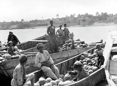 Photograph - Baghdad Watermelon Barges by Underwood Archives