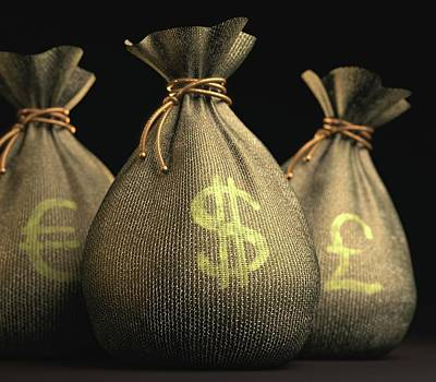 Sterling Photograph - Bags Of Money by Ktsdesign