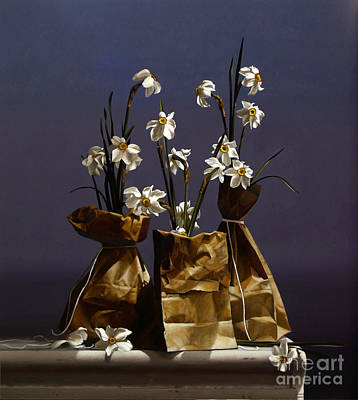 Paper Bags Painting - Bags Of Narcissus by Larry Preston
