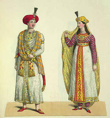 Gold Dress Photograph - Bahadour Shah And Suria Banu by British Library